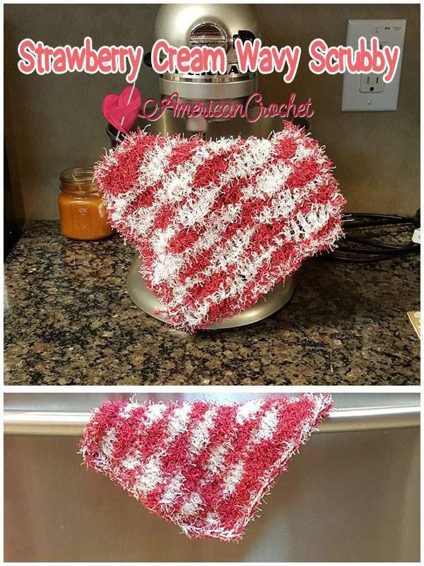 Strawberry Cream Wavy Scrubby Free Crochet Pattern American