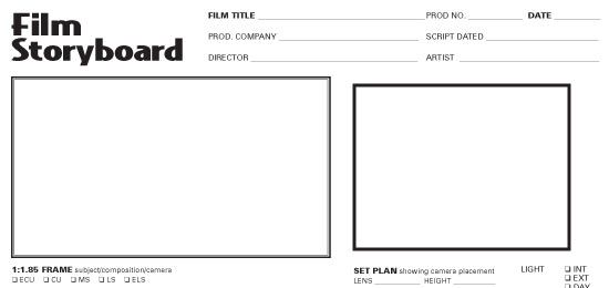 Film Storyboard Template  Photography    Storyboard