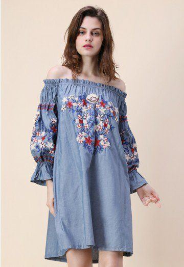 c47be91b7a5b This off-shoulder denim dress boasts simplistic rose embroidery that s sure  to sweep you off your feet. Pair with chunky ankle strap heels and a  cross-body ...