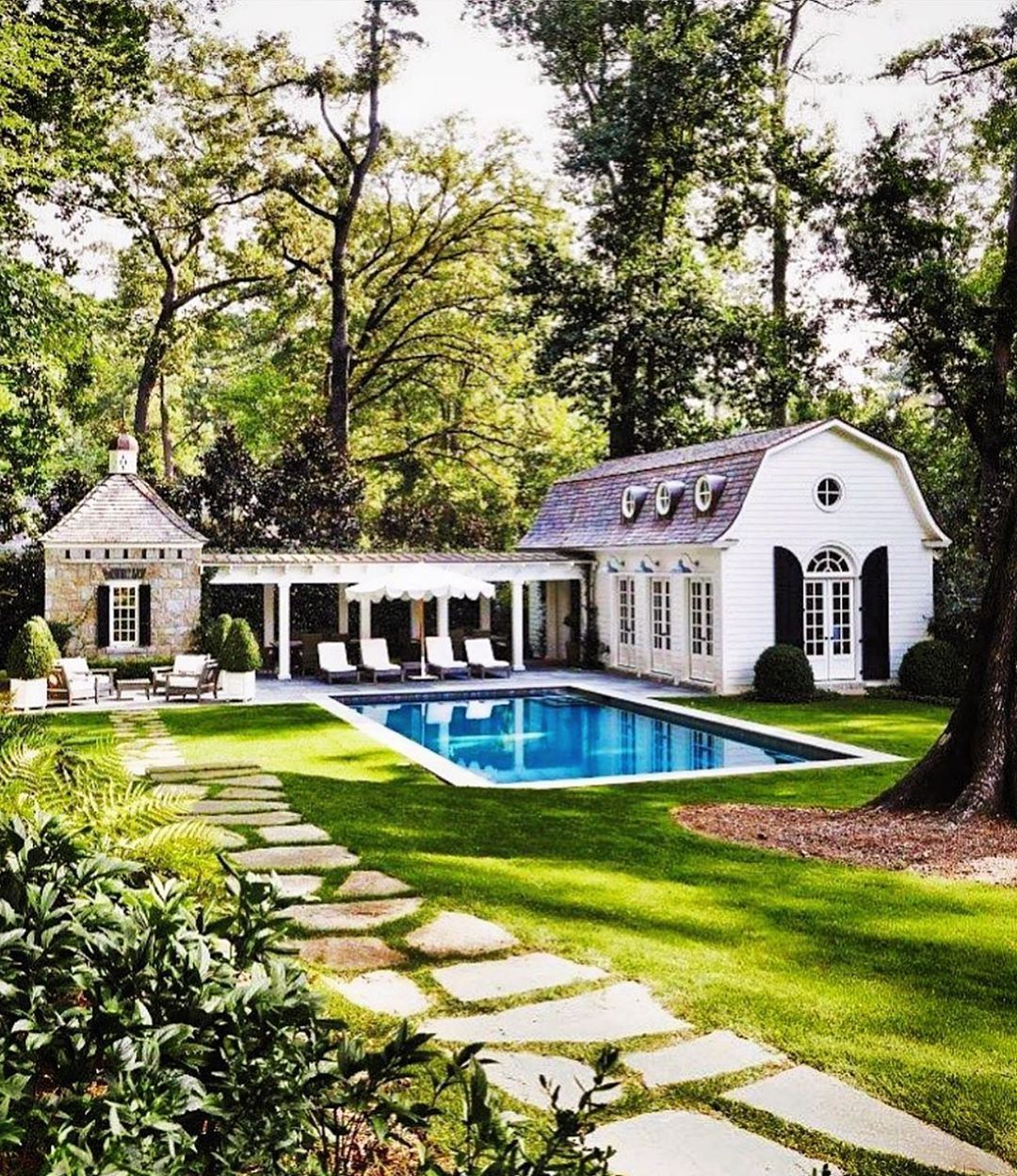 Secrets Of A Hostess On Instagram Delightful Pool House Designed By Dsdixonarchitect In 2020 Dream House Exterior Pool House Designs House Designs Exterior
