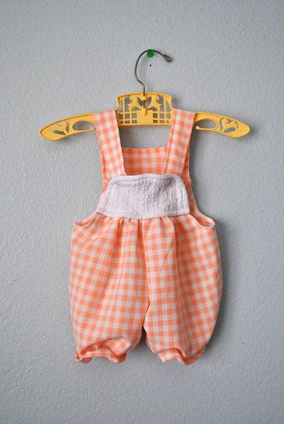 Vintage baby girl gingham romper
