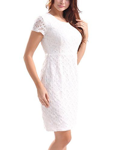 HOSBY Women White Summer Short Sleeve Scoop Neck Lace Dress at Amazon Women s  Clothing store  45491f830beb