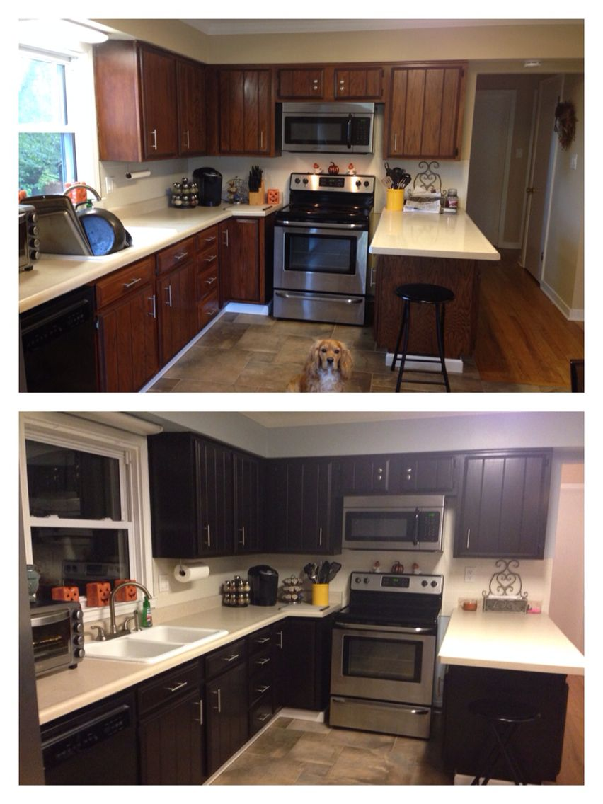 My Before And After Pic Of My Kitchen We Used General Finishes Gel Stain In Java 3 Coats Of Gel Stain And 2 Coats Of Kitchen Diy Makeover Diy Kitchen Kitchen