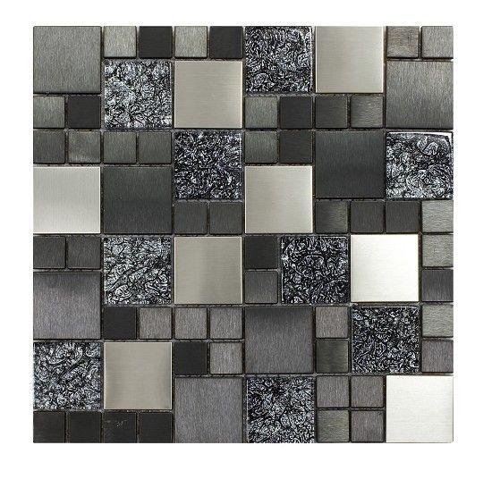 Black, Grey & White, Glass Mosaic Tile