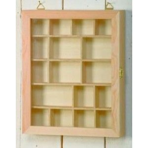 Wooden Glass Fronted Shadow Display Box With Compartments U0026 Hinged Door    £7.99   Wood