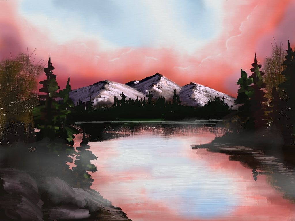 Simple Painting Of A Lake Mountains Trees Rocks And Some Mist