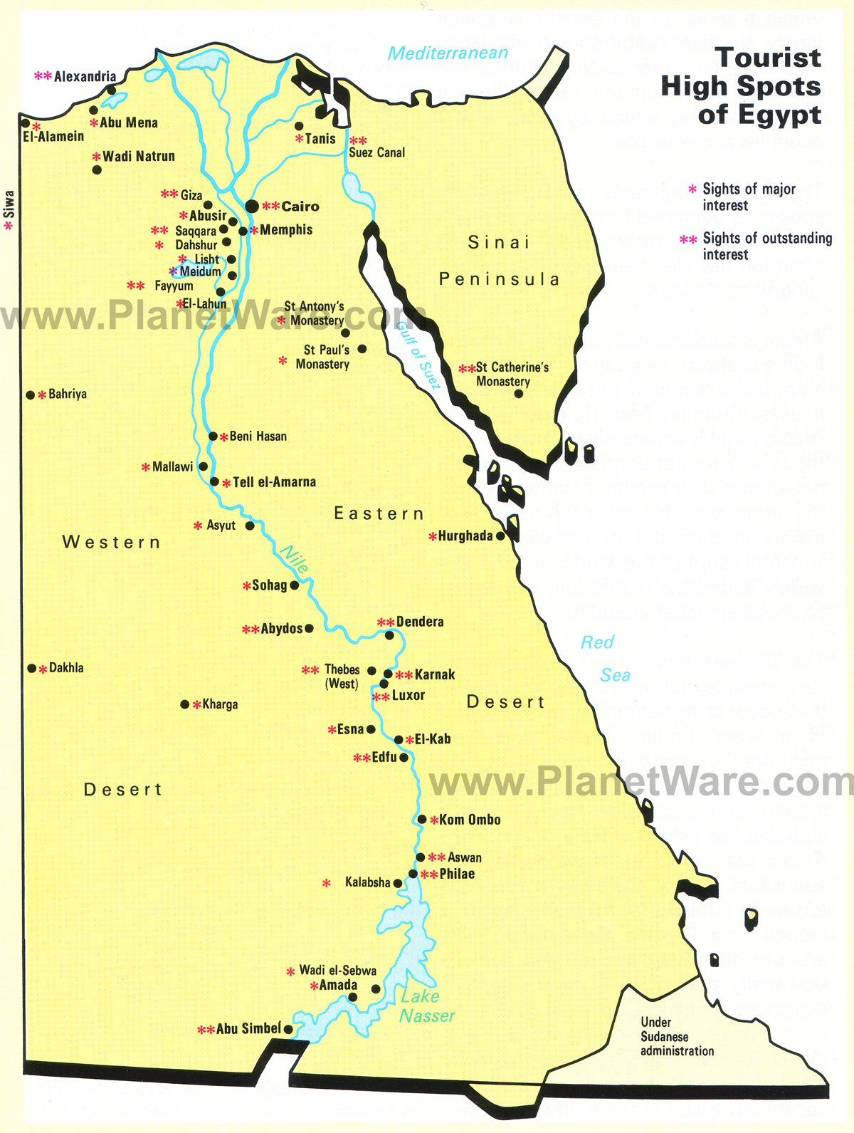 Map Of Populat Tourist Spots In Egypt Planetware Tourist Spots Tourist Egypt