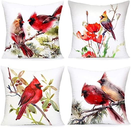 Xihomeli Vintage Red Bird Tee Decorative Home Super Soft Throw Pillow Case Cushi...