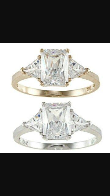 My dream ring 14k gold emerald cut diamond with triangle