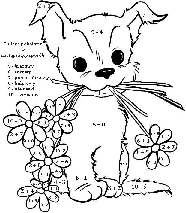 KOLOROWANKI MATEMATYCZNE BLOG EDUKACYJNY DLA DZIECI matematyka - best of valentines day coloring pages with dogs