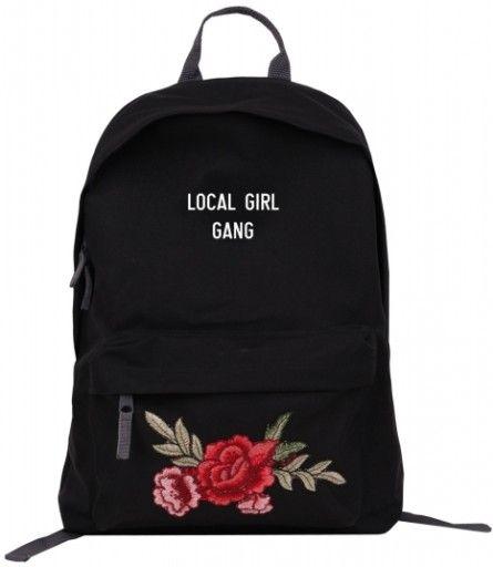 ff42dddeec8f9 Plecak szkolny naszywka haft róża rose patch modny w 2019   Plecaki ...