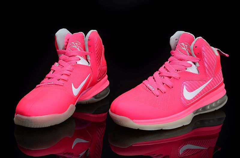 Nike Lebron 9 For Women Cherry Pink White  f59b6c521