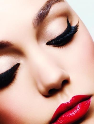 Red Lipstick & Black eye Cat Makeup.