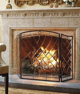 Victoria Beveled Glass Fireplace Screen Kamin Plitka Vysokij
