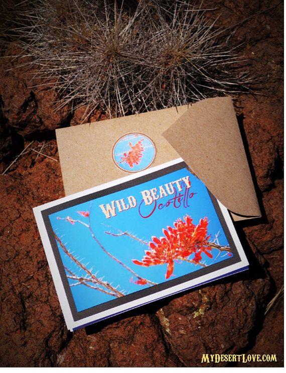 Red Wildflowers Blue Handmade Nature Card, Ocotillo Desert Flora Blooms, Custom 5 x7 Card with Kraft envelope and sticker