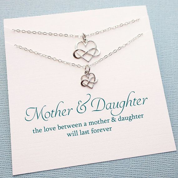 Mother daughter necklace Heart infinity necklace Mother Daughter infinity heart necklace set
