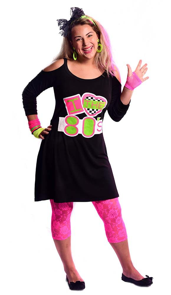 c40f3ebdc24 Women s Black I Love the 80 s Cold Shoulder Dress - Candy Apple Costumes