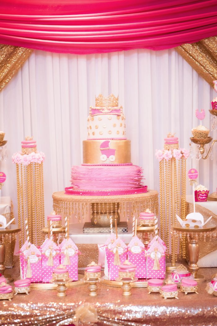 Beautiful Cakescape From A Royal Princess Baby Shower On Karau0027s Party Ideas |  KarasPartyIdeas.com (