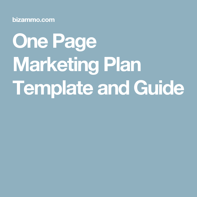 One Page Marketing Plan Template and Guide | Sales Information ...