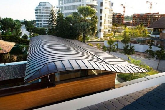 Exotic tropical residence design in singapore smart living space roof design idea with waving architecture ideas installed with cool solar