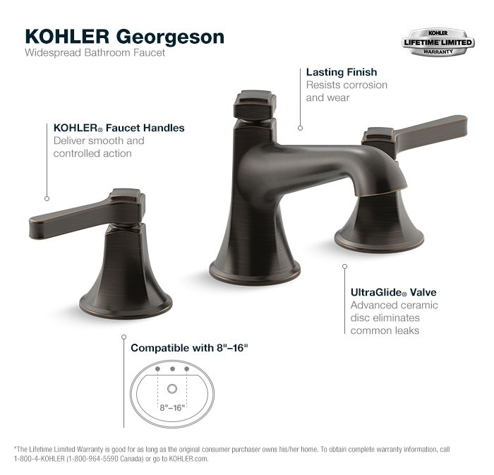 KOHLER Georgeson 8 in. Widespread 2-Handle Water-Saving Bathroom ...