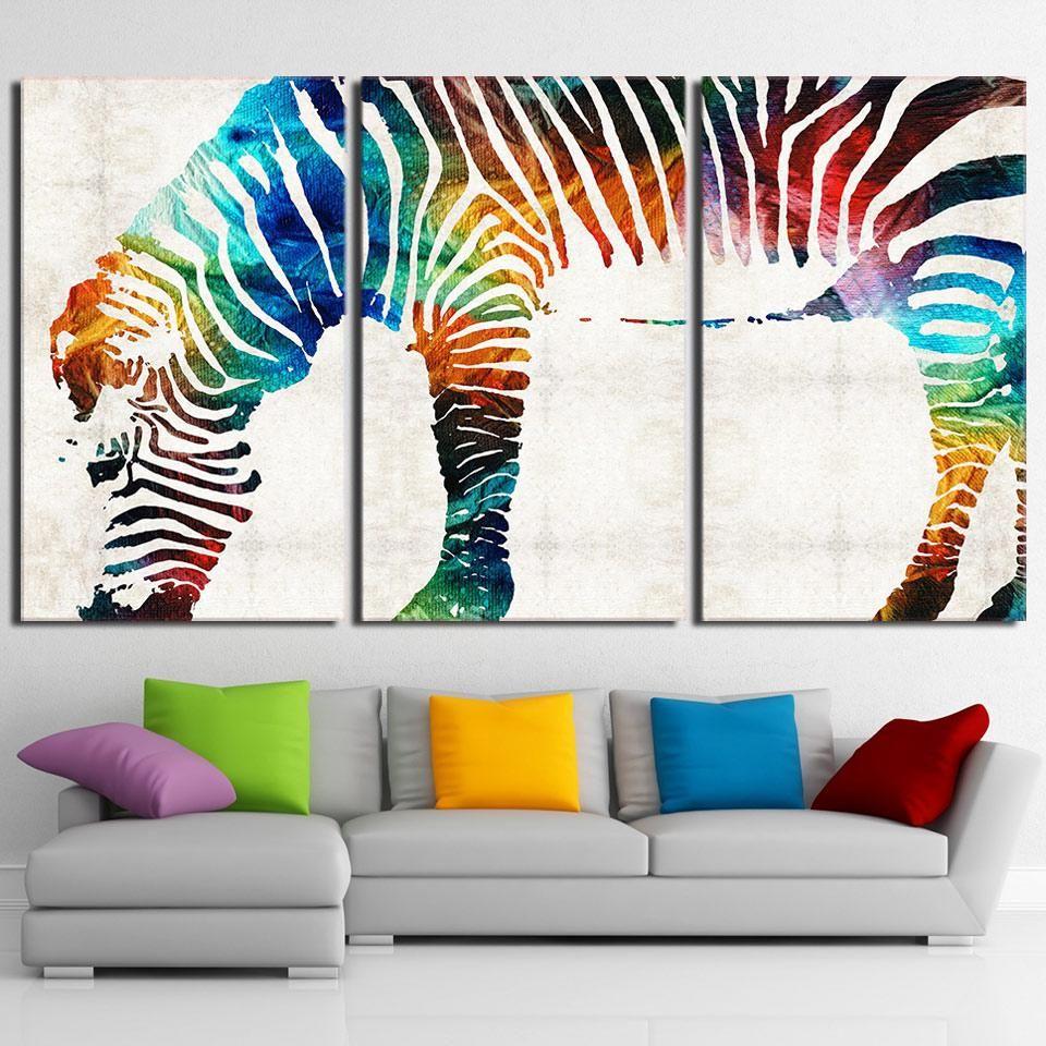 3 Piece HD printed Canvas Art Streamer Color Zebra Modern Abstact ...