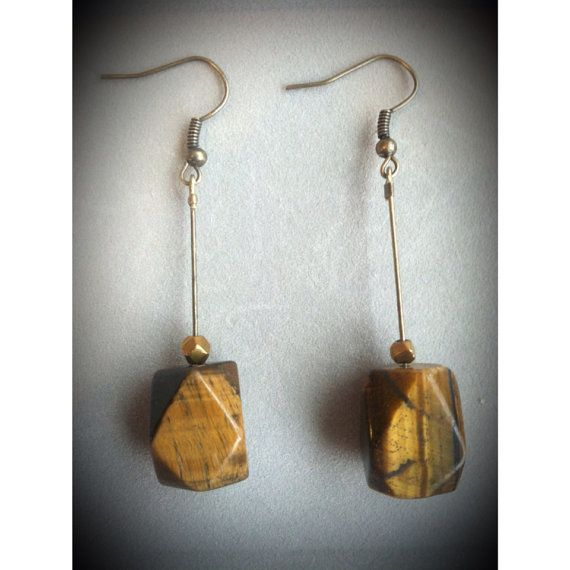 Tiger Eye Geometric Bronze Wire Earrings  on Etsy, $9.50