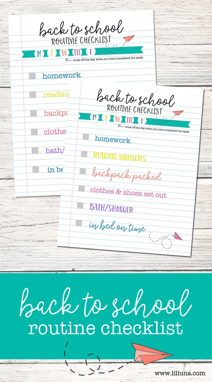 FREE Back 2 School Routine Checklist - help the kids get back in a ...