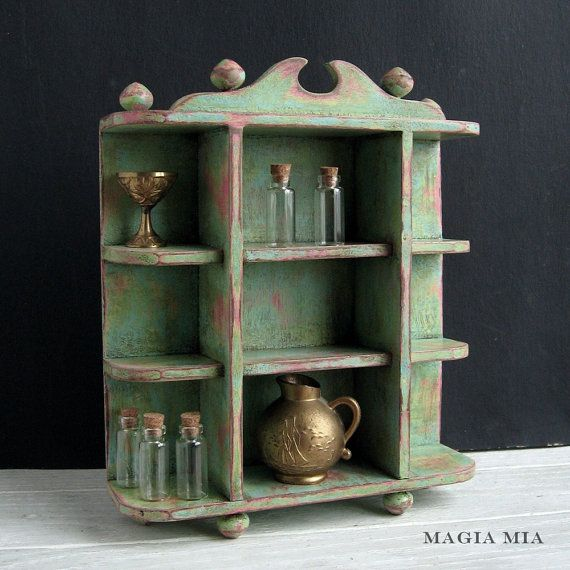 Mini Curio Cabinet Chalk Painted Miniature Shelf Aqua ...
