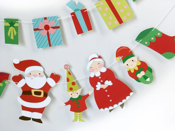 Diy Pdf Png Svg Printable Santa Claus Elves And Presents Clipart Digital Files Vintage Style In 2021 Christmas Crafts Printable Christmas Cards Easy Paper Crafts