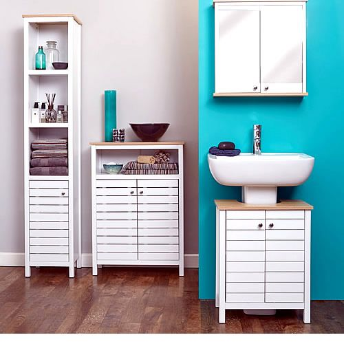 Slimline Bathroom Storage Unit New Haven At White Painted Wooden Cabinet With A Small Footprint