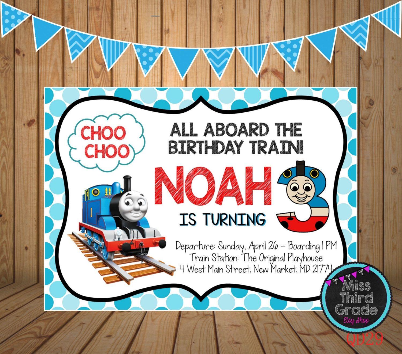 Thomas the Train Birthday Invitation // Train Birthday Party Digital ...