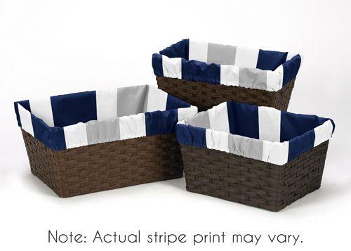 Navy Blue and Gray Stripe Basket Liners - Set of 3 - Sweet Jojo Designs