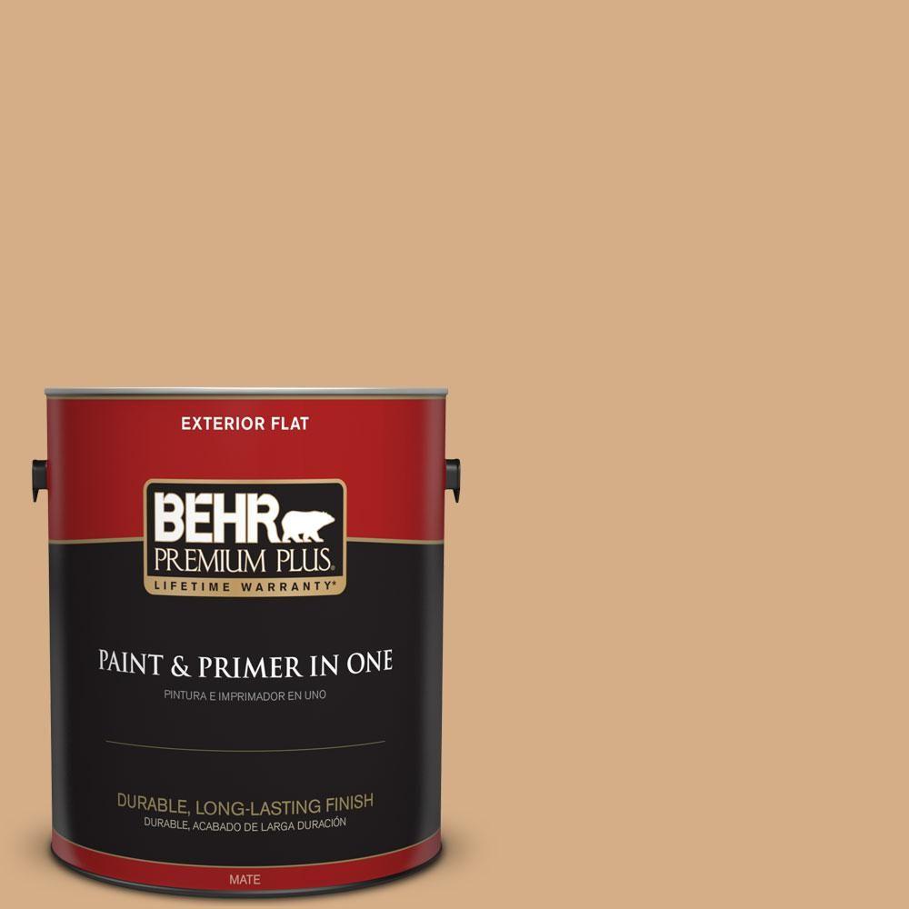 BEHR Premium Plus 1-gal. #bxc-67 Santa Fe Tan Flat Exterior Paint