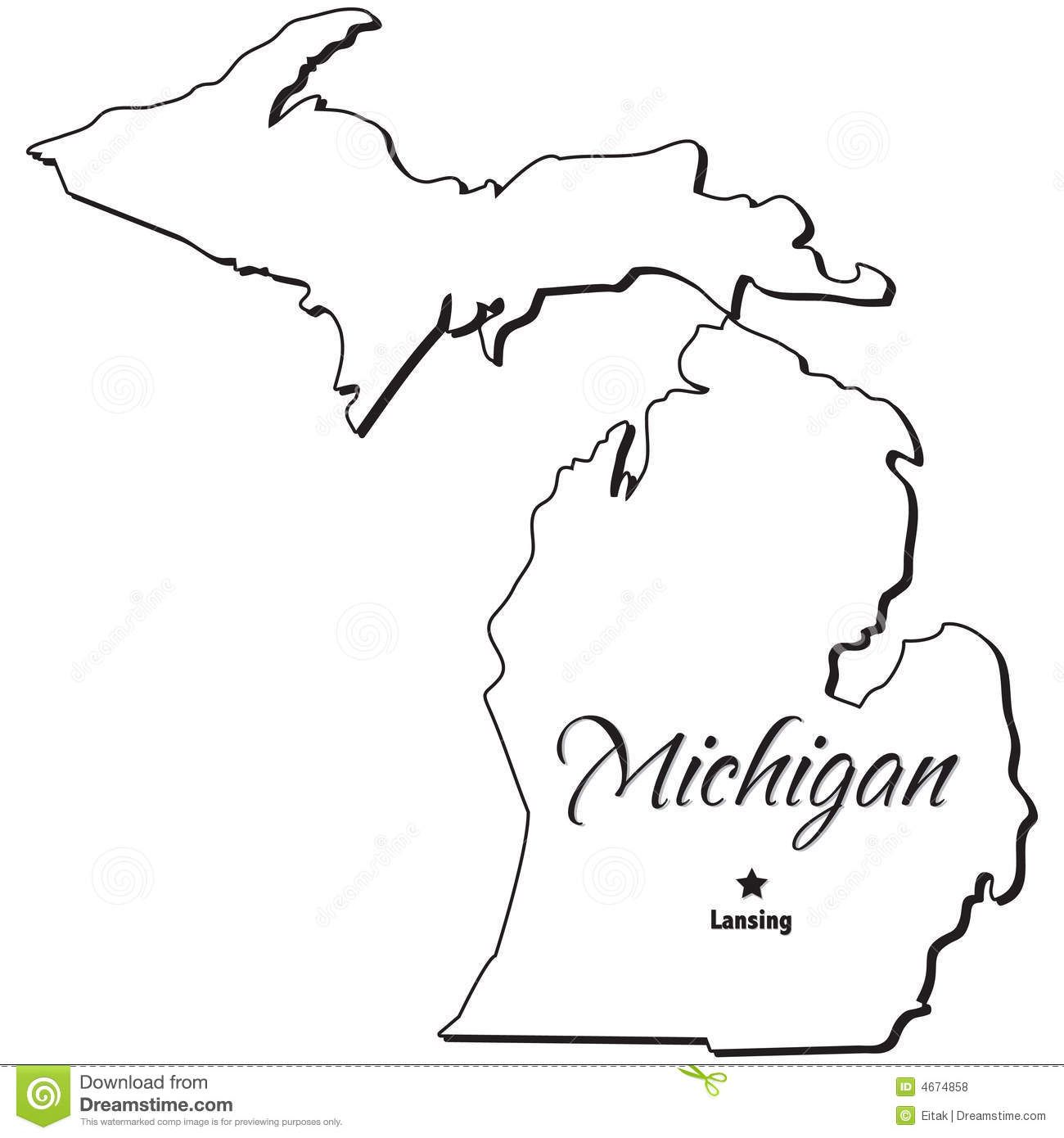 Michigan State Map Outline Michigan Map Metal Piercing Sawing