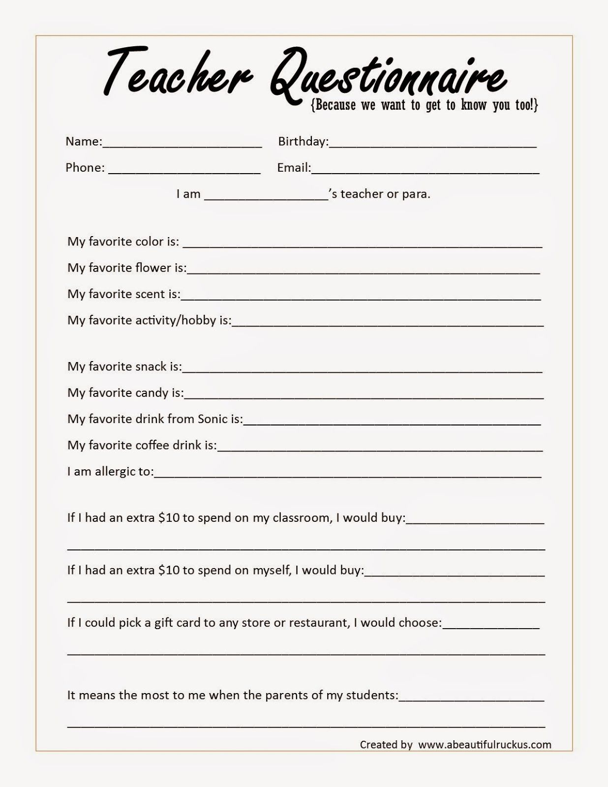 Beginning Of The Year Teacher Questionnaire Printable