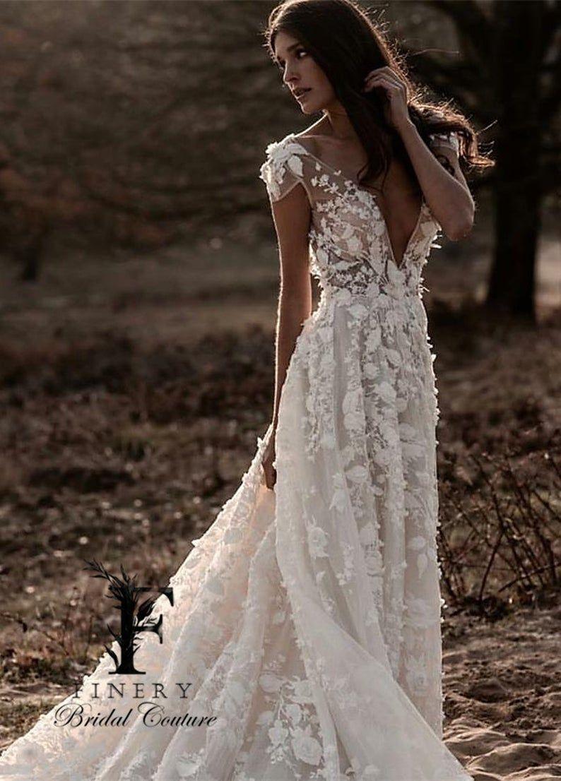 Bohemian 20D Flowers Cap Sleeve Illusion Bodice Wedding Dress ...