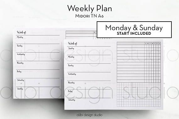 a6 tn weekly planner traveler s notebook meal planner workout