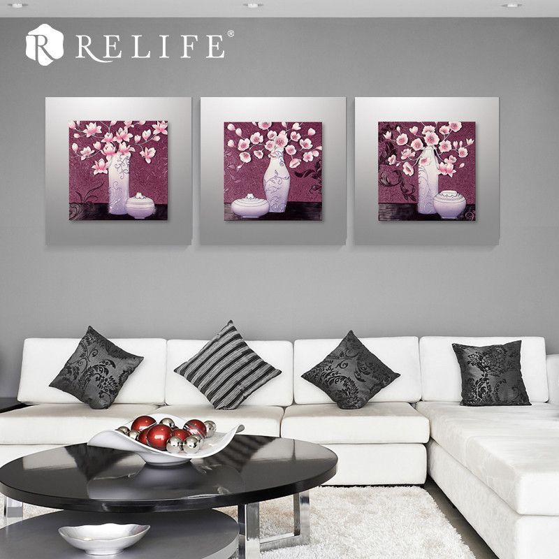 Handpainted Nordic Resin Flower Wall Paintings For Living Room Cool Living Room Paintings Decorating Design