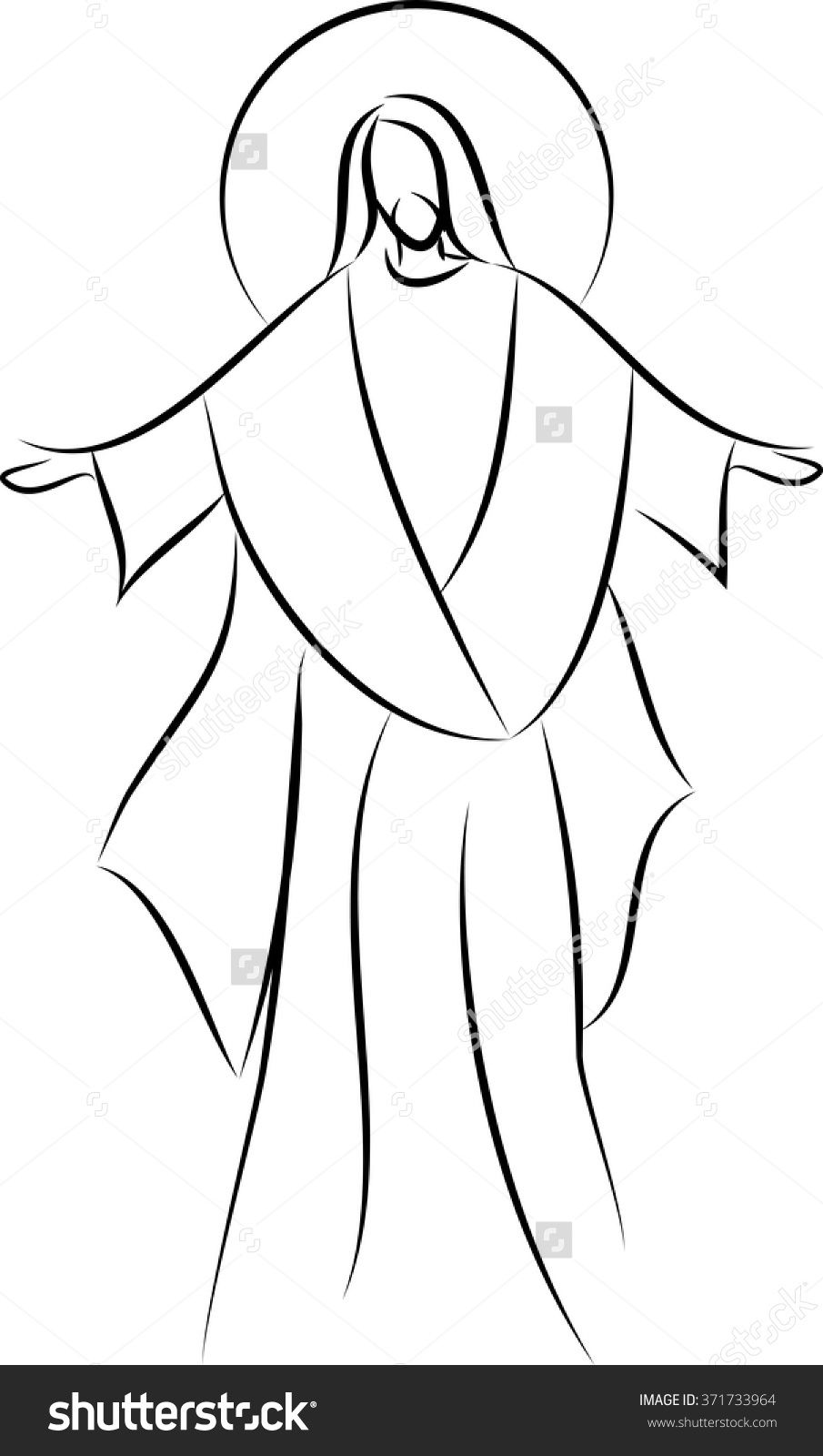 Line Drawing Pictures : Stock vector jesus christ simple line drawing