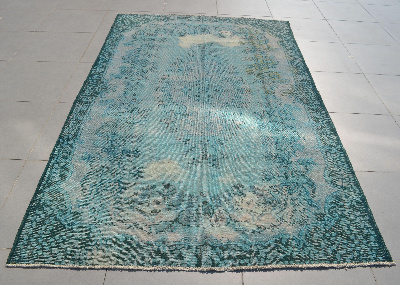 Overdyed Turkish Rug Turquoise Blue Bohemian Antique Handmade Anatolian Vintage Oushak