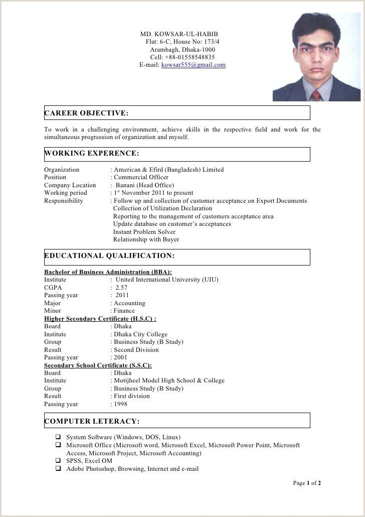 Standard Cv Format For Bangladesh Doc In 2020 Job Resume Format Cv Format For Job Cv Format