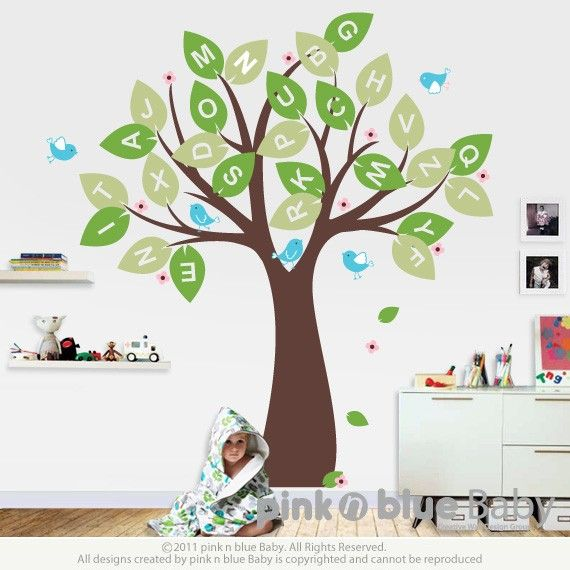 Wall Decal Alphabet Tree And Birds