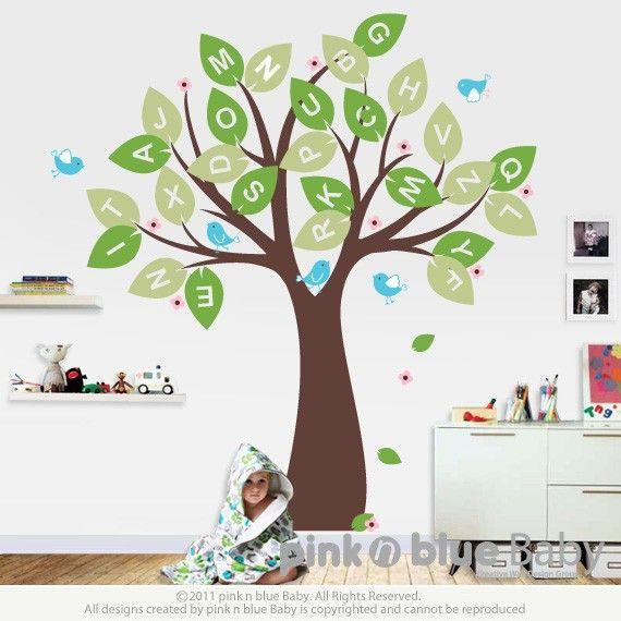 Wall Decal Alphabet Tree And Birds Nursery Kids Removable Wall - Vinyl wall decals alphabet
