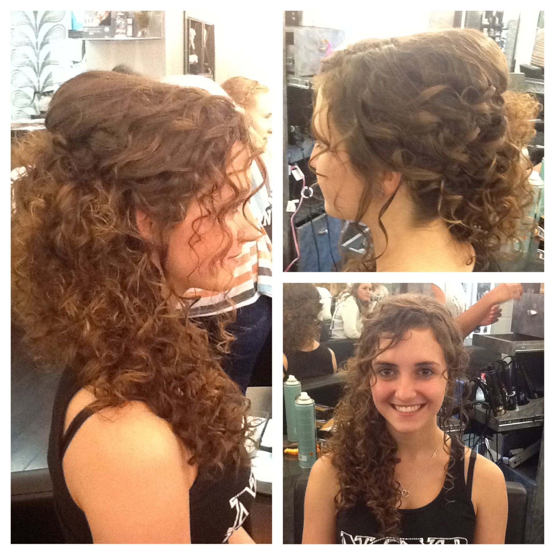 Natural curly hair swept to the side