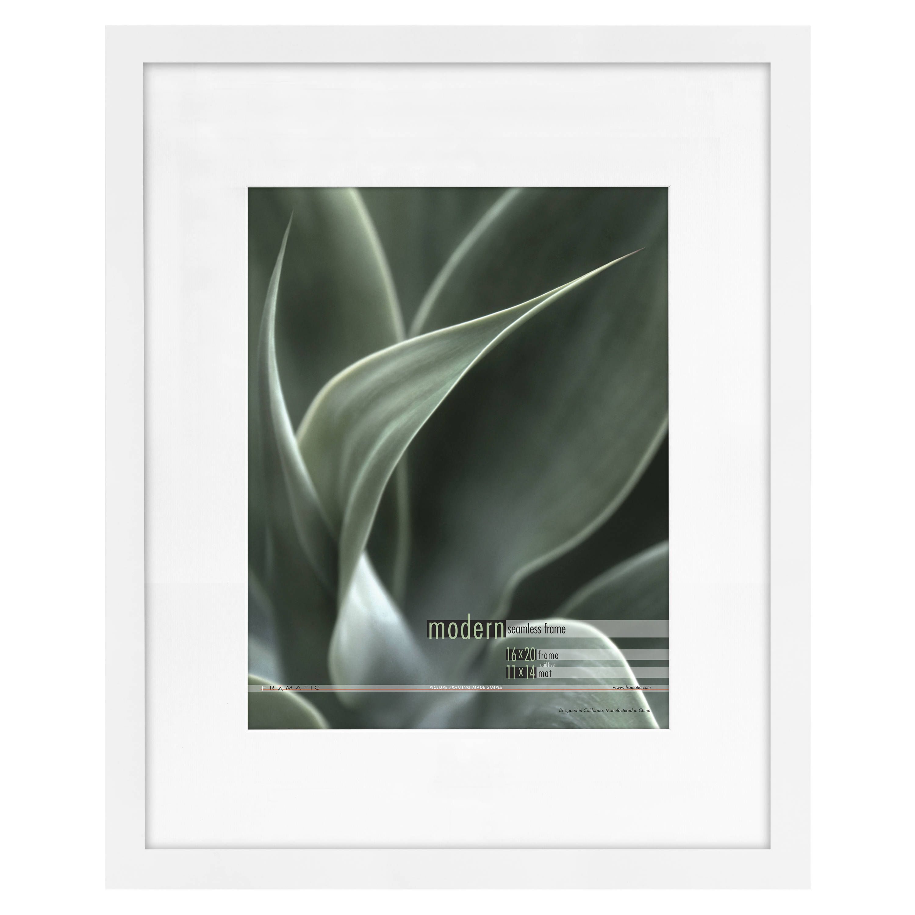 Mcs Industries Modern White 16x20 Picture Frame Matted For 11x14