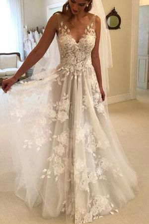 Photo of Elegant A-Line V-Neck Tulle Open Back Ivory Wedding Dresses with Lace Appliques