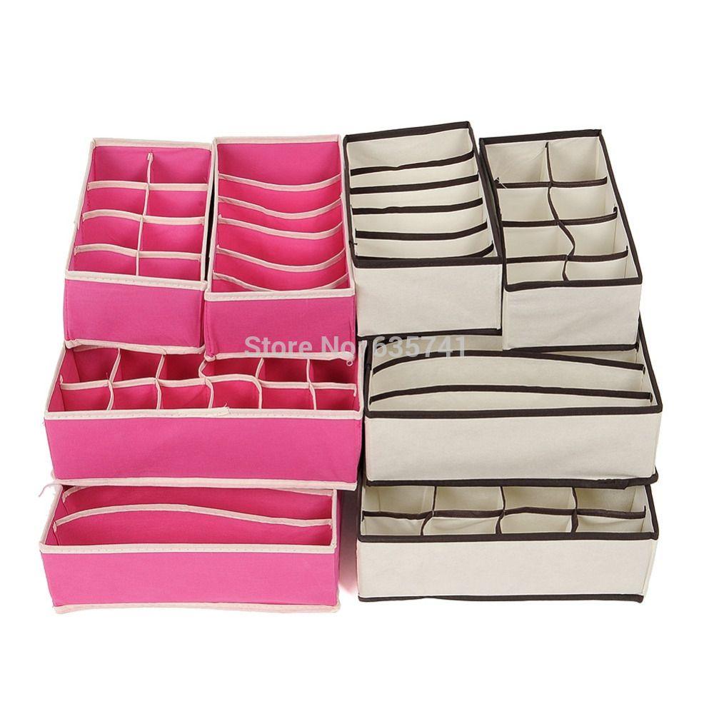 247df3725 Barato 4pcs set divisores de gaveta organizadores do armário calcinha sutiã  laços meias caixas de armazenamento frete grátis
