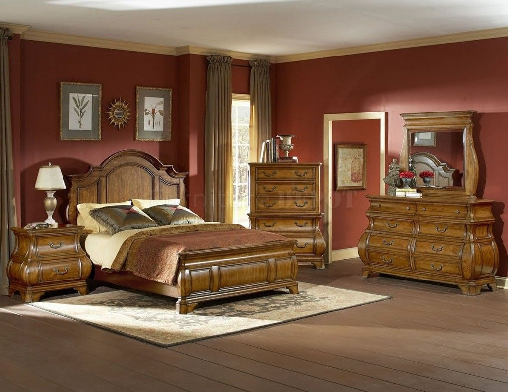 Modern traditional bedroom furniture - Bedroom Picturesque Red Scheme Traditional Bed Design With Amazing Wood Bed Frame On Combined Cozy Beige Mattress And Antique Wood Dresser Also Gorgeous