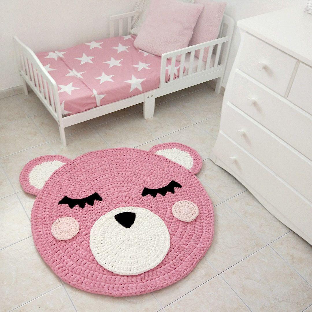 Bear Crochet Rug Handmade Kids Corchet Nursery Pink Carpet Doily By Ponponi On Etsy